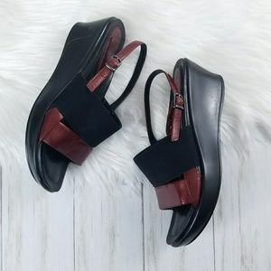 DANSKO Black & Red Wedge Sandals sz 39